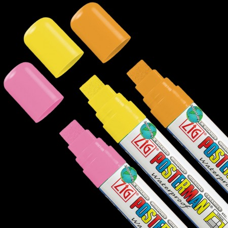 WO/WO 3 Color Zig Posterman Marker Set for Black Backgrounds