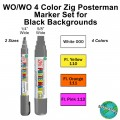 WO/WO 4 Color Zig Posterman Marker Set for Black Backgrounds