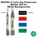 WO/WO 4 Color Zig Posterman Marker Set for White Backgrounds