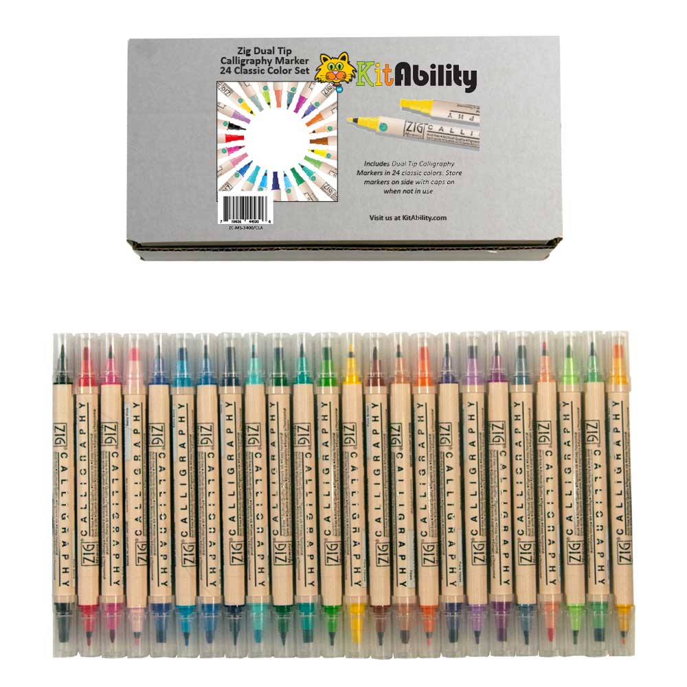 Zig Dual Tip Calligraphy Marker 24 Classic Color Set